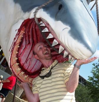 Scary Shark + Goofy Guy = Funny Photo Op